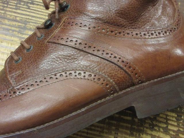 ミドルカット【イタリア製 ケネスコール もみ革 ブローギング ブーツ 茶 】デザイナーズ USA アメリカ 革靴_画像4