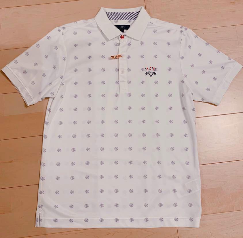 超美品 キャロウェイ L メンズ 半袖 ポロシャツ 吸汗 速乾 5 白 グレー 夏 正規品 ドライ クール callaway ゴルフ シャツ 美品