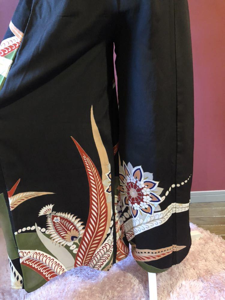 #盛岡工房着物リメイク アンティーク黒留袖からのウルトラワイドパンツです。_画像3