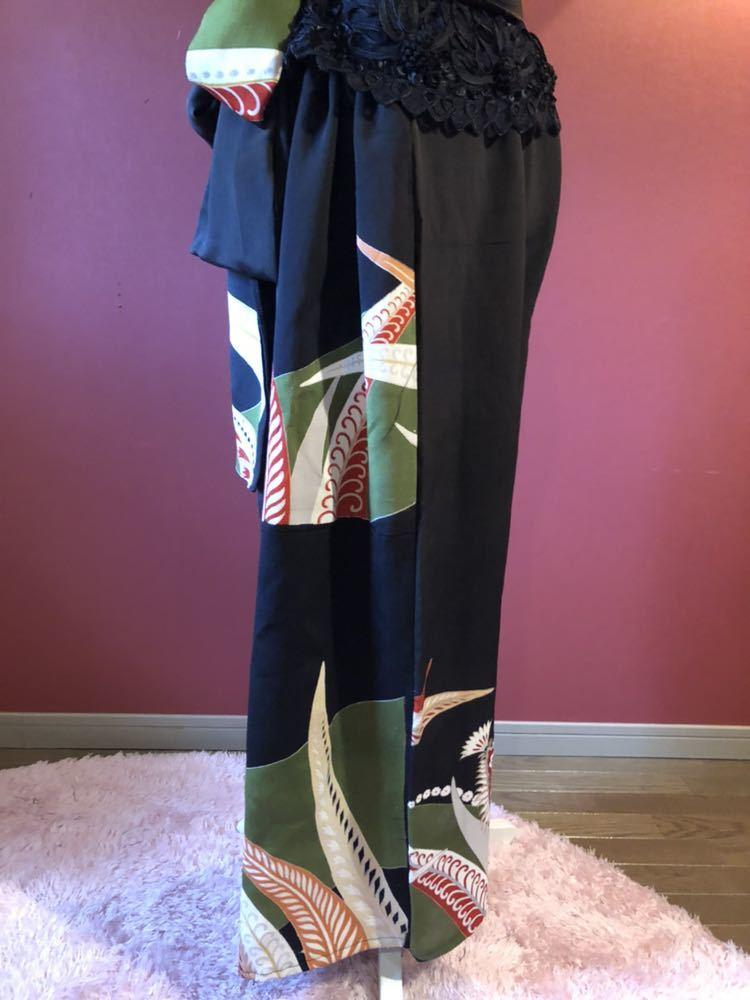 #盛岡工房着物リメイク アンティーク黒留袖からのウルトラワイドパンツです。_画像4
