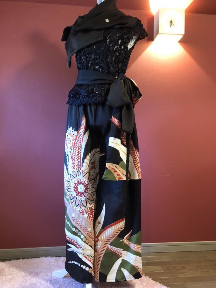 #盛岡工房着物リメイク アンティーク黒留袖からのウルトラワイドパンツです。