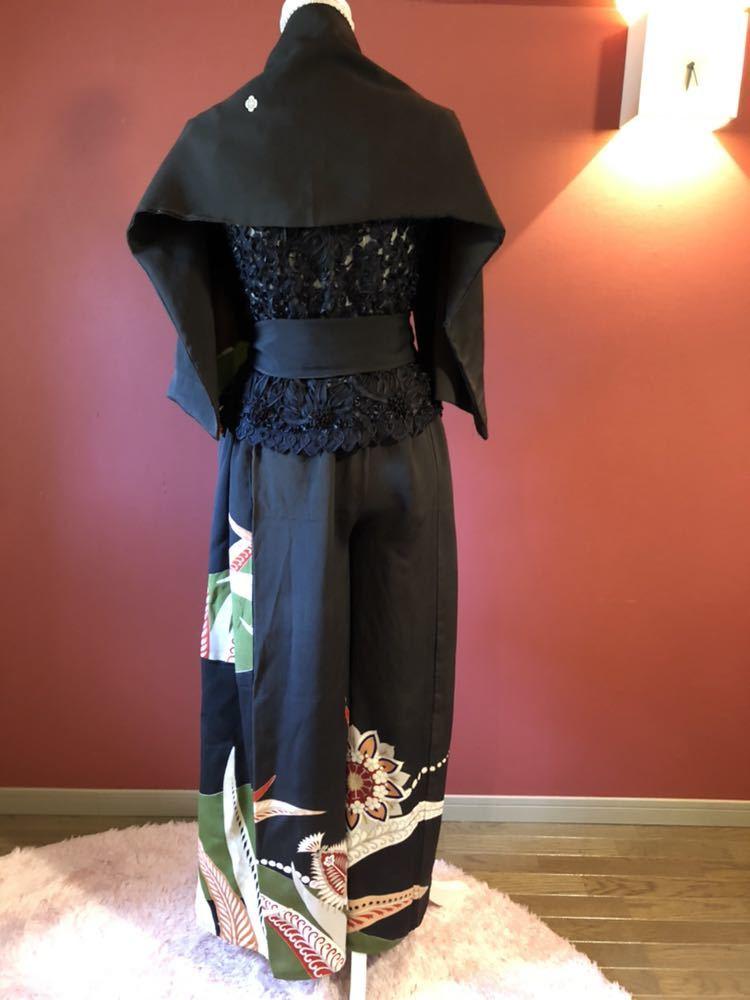 #盛岡工房着物リメイク アンティーク黒留袖からのウルトラワイドパンツです。_画像5