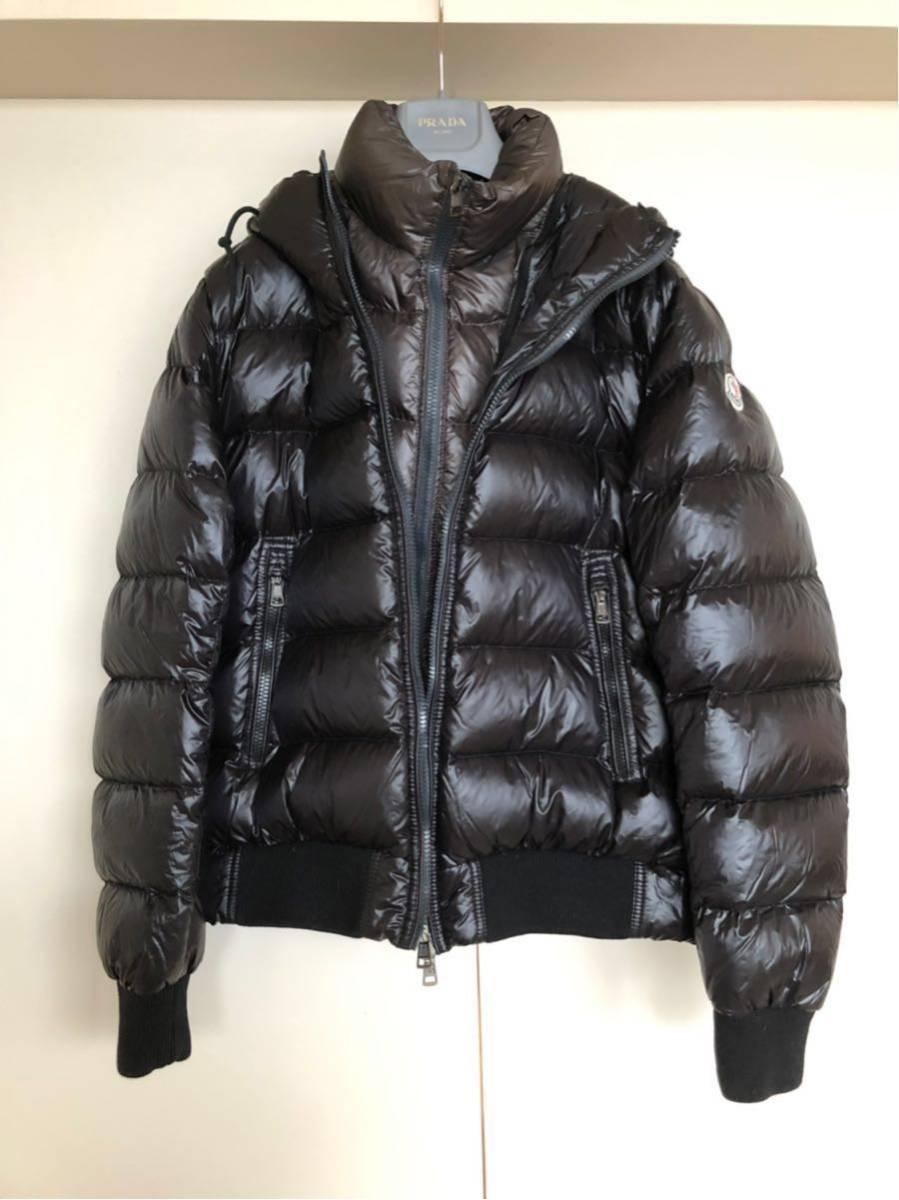 本物 モンクレール MONCLER ジャケット ダウンジャケット サイズ3 黒 メンズ ダブルジップアップ MARQUE 国内正規品