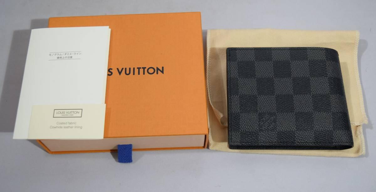 84_O992)LOUIS VUITTON ルイ・ヴィトン N63336 ダミエ・グラフィット ポルトフォイユマルコ 二つ折り 財布