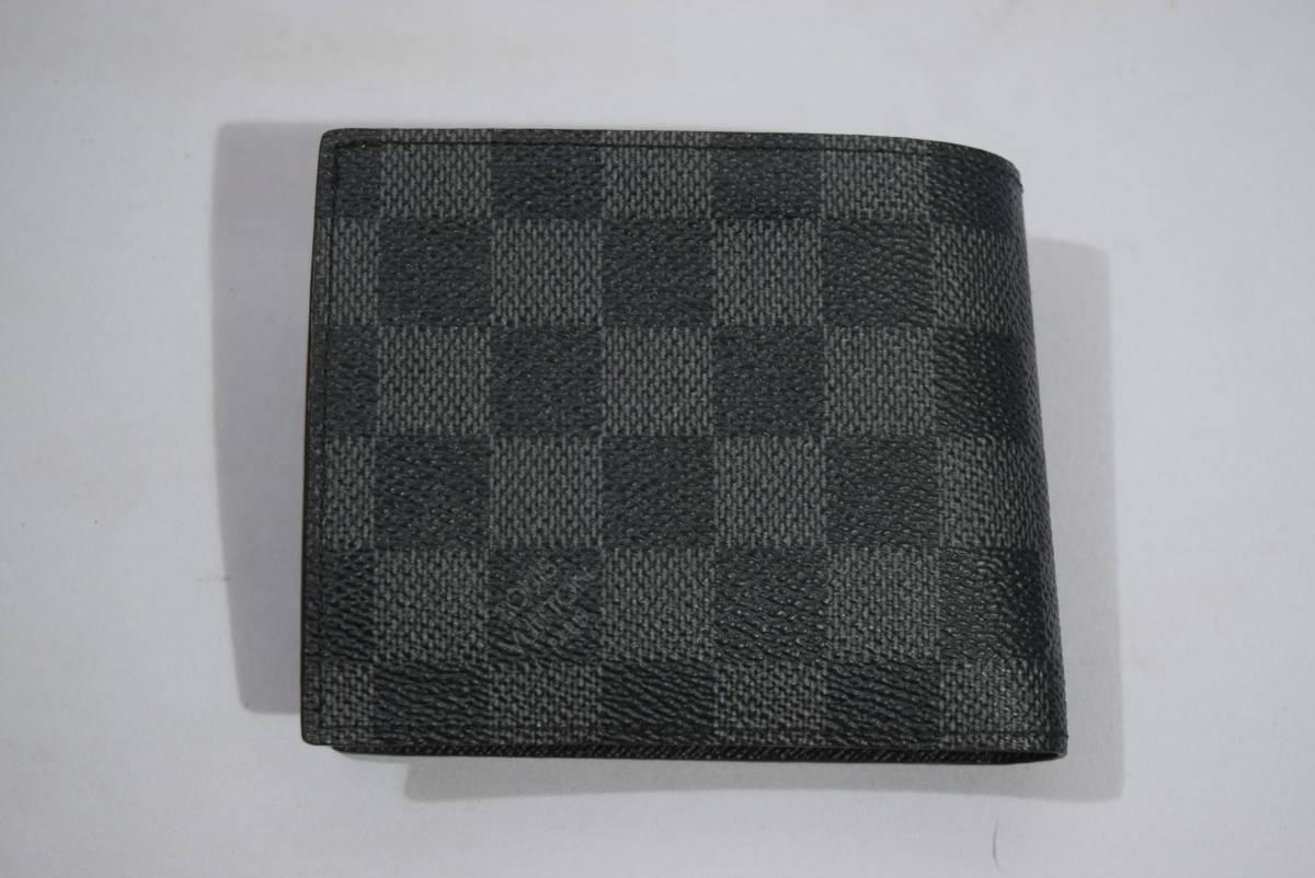 84_O992)LOUIS VUITTON ルイ・ヴィトン N63336 ダミエ・グラフィット ポルトフォイユマルコ 二つ折り 財布_画像3