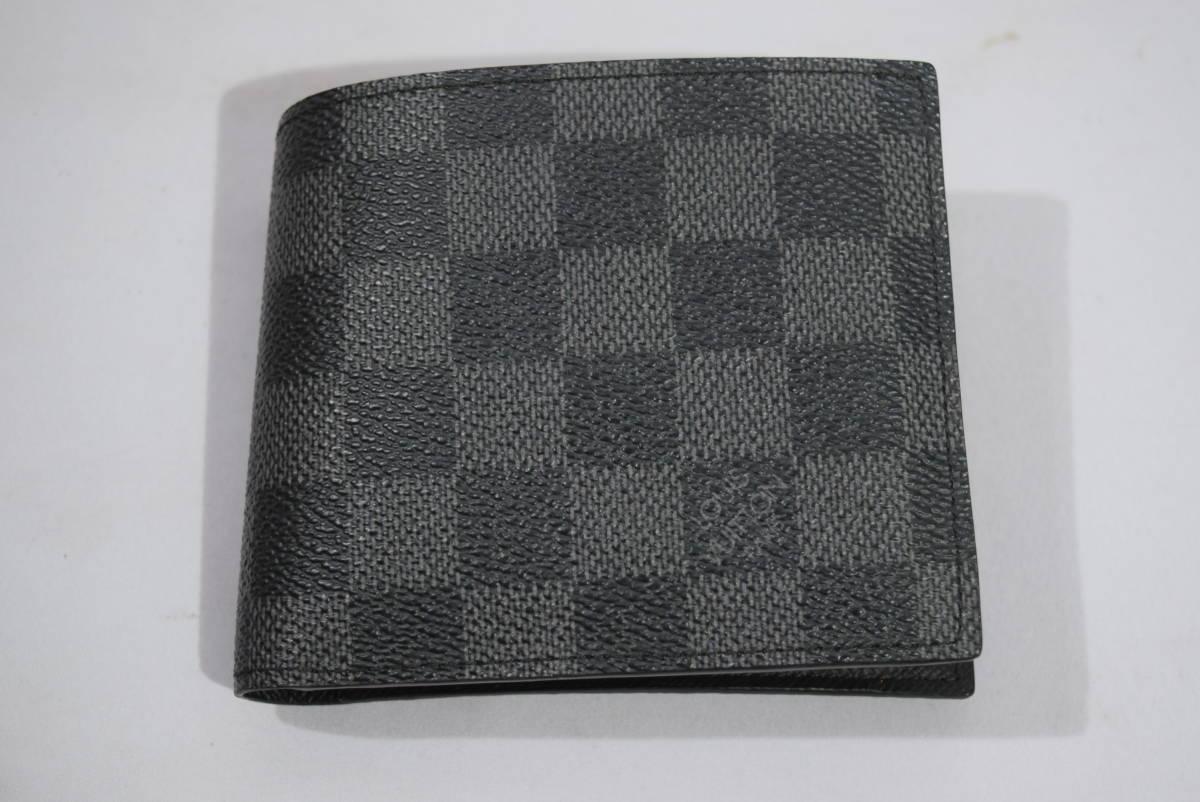 84_O992)LOUIS VUITTON ルイ・ヴィトン N63336 ダミエ・グラフィット ポルトフォイユマルコ 二つ折り 財布_画像2