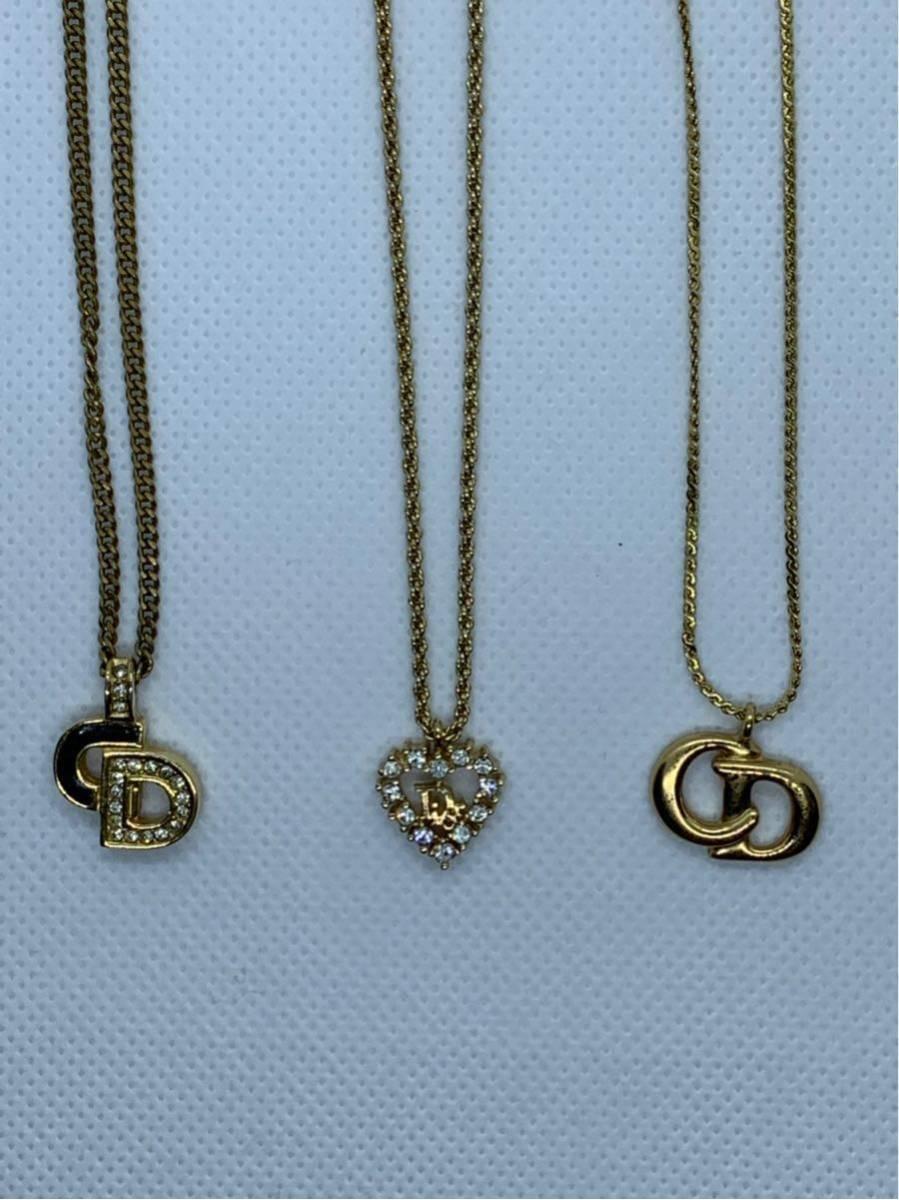 注目!美品!1円~Christian Dior クリスチャン・ディオール ネックレス3本セット