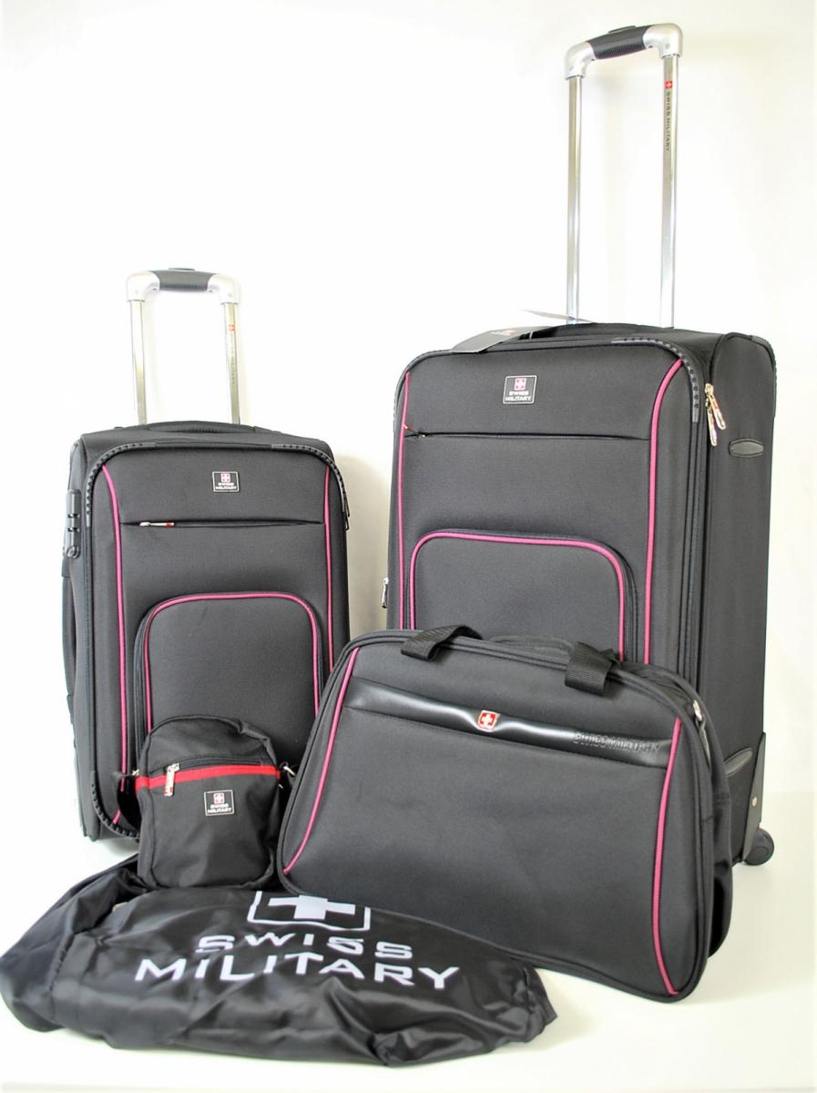 72PGN 【美品】 SWISS MILITARY スイスミリタリー スーツケース 5点セット ボストンバック パスポートバッグ ケースカバー ポリエステル