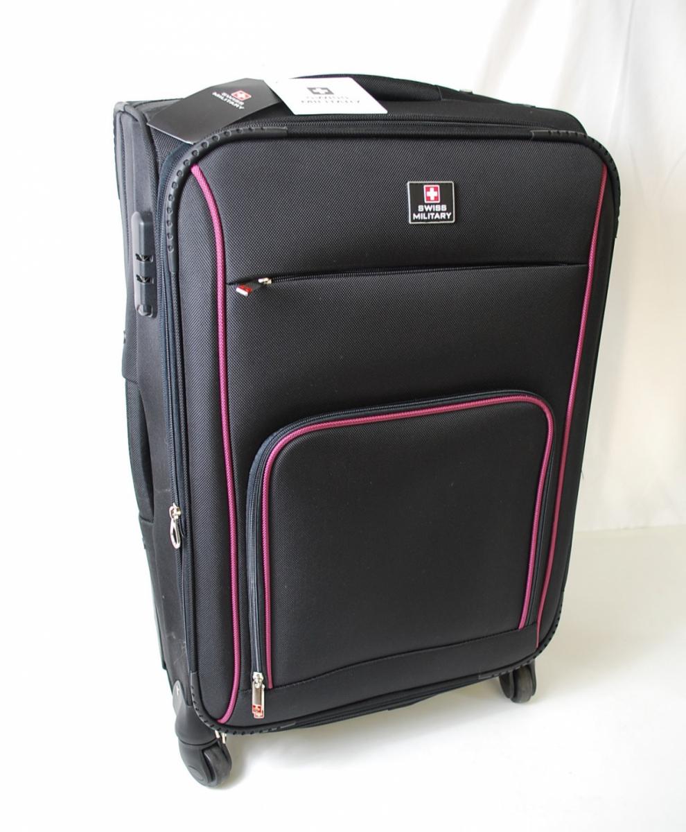 72PGN 【美品】 SWISS MILITARY スイスミリタリー スーツケース 5点セット ボストンバック パスポートバッグ ケースカバー ポリエステル_画像3