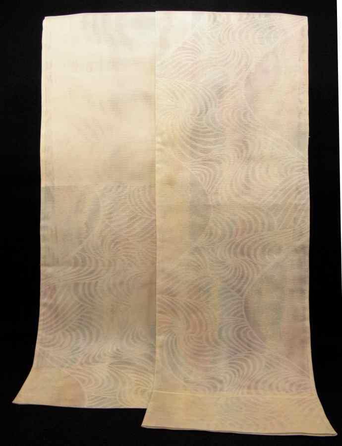 【帯喜楽】夏1●芯なし夏袋帯●三越製●薄ベージュ透かし織にピンク水色銀混じり流れ_画像10