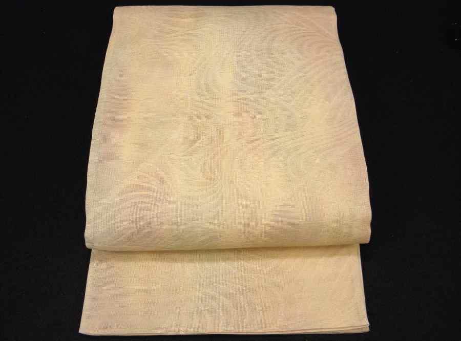 【帯喜楽】夏1●芯なし夏袋帯●三越製●薄ベージュ透かし織にピンク水色銀混じり流れ_涼し気な美しい芯なし夏袋帯です