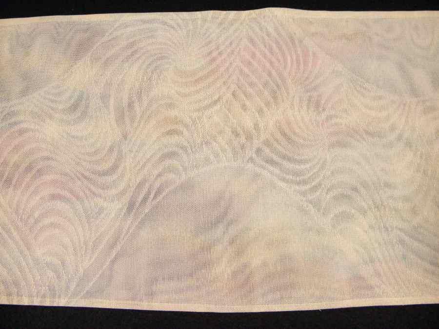 【帯喜楽】夏1●芯なし夏袋帯●三越製●薄ベージュ透かし織にピンク水色銀混じり流れ_画像7