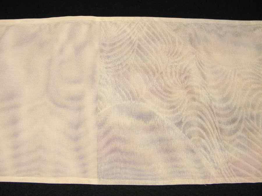 【帯喜楽】夏1●芯なし夏袋帯●三越製●薄ベージュ透かし織にピンク水色銀混じり流れ_画像9
