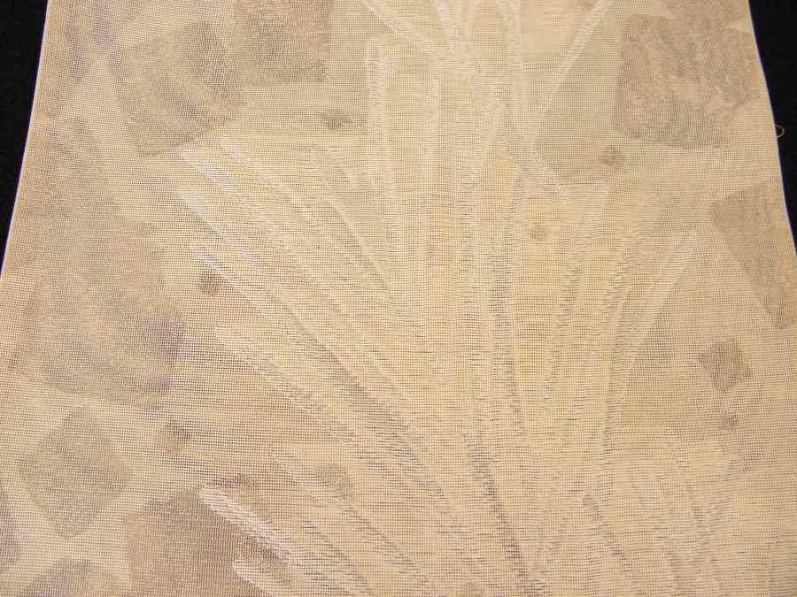 【帯喜楽】夏帯●美品●芯なし袋帯●美品●薄ベージュ透かし織に銀糸葉繋ぎ_画像5