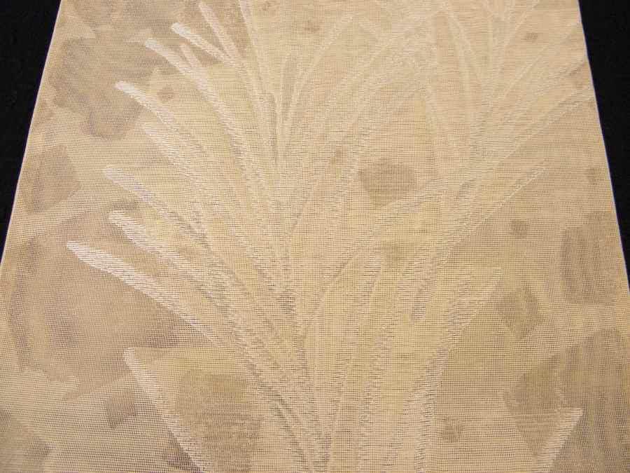 【帯喜楽】夏帯●美品●芯なし袋帯●美品●薄ベージュ透かし織に銀糸葉繋ぎ_画像6