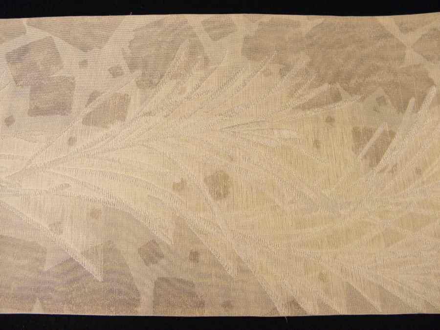 【帯喜楽】夏帯●美品●芯なし袋帯●美品●薄ベージュ透かし織に銀糸葉繋ぎ_画像7