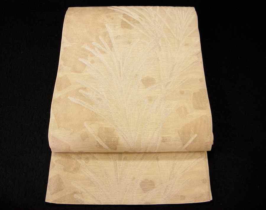 【帯喜楽】夏帯●美品●芯なし袋帯●美品●薄ベージュ透かし織に銀糸葉繋ぎ_涼し気な芯なしの夏袋帯です