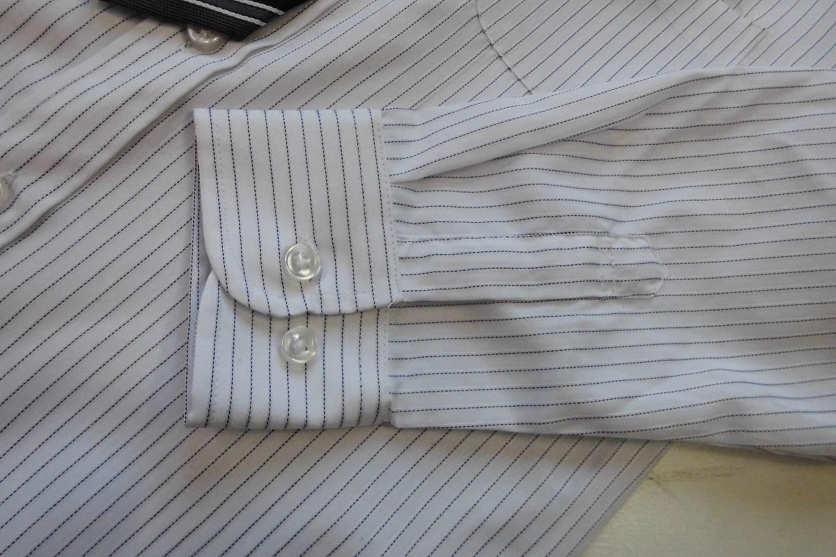 新品 120cm 送料182円 ネクタイ付シャツ 白地ストライプ tad36_画像3
