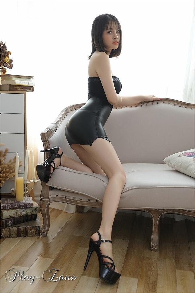 A326B ボディコン ワンピース ミニ ドレス 女教師 秘書 OL コスプレ衣装 2頭ファスナー 一体式 ブラック_画像5