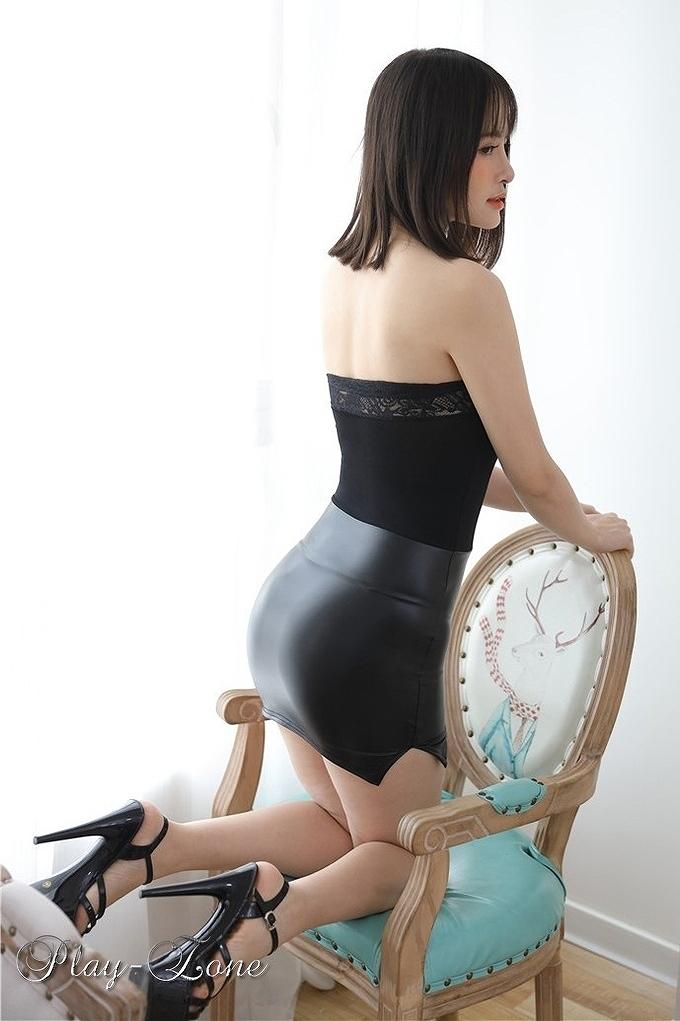 A326B ボディコン ワンピース ミニ ドレス 女教師 秘書 OL コスプレ衣装 2頭ファスナー 一体式 ブラック_画像3