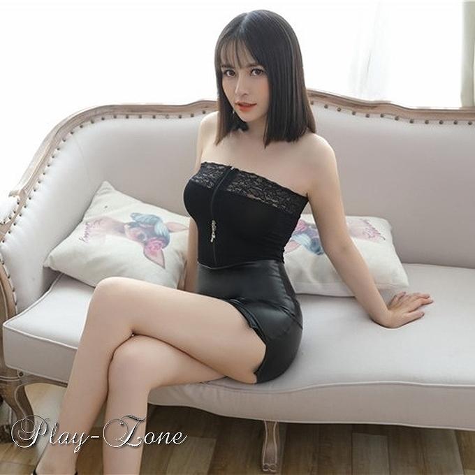 A326B ボディコン ワンピース ミニ ドレス 女教師 秘書 OL コスプレ衣装 2頭ファスナー 一体式 ブラック