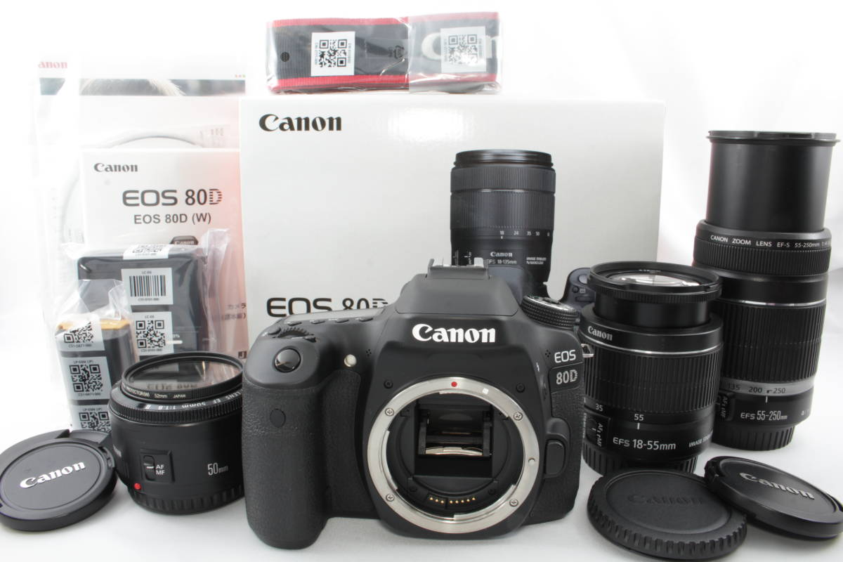 ☆極上品☆ Canon キヤノン EOS 80D 純正トリプルレンズセット 付属品未使用♪拍卖