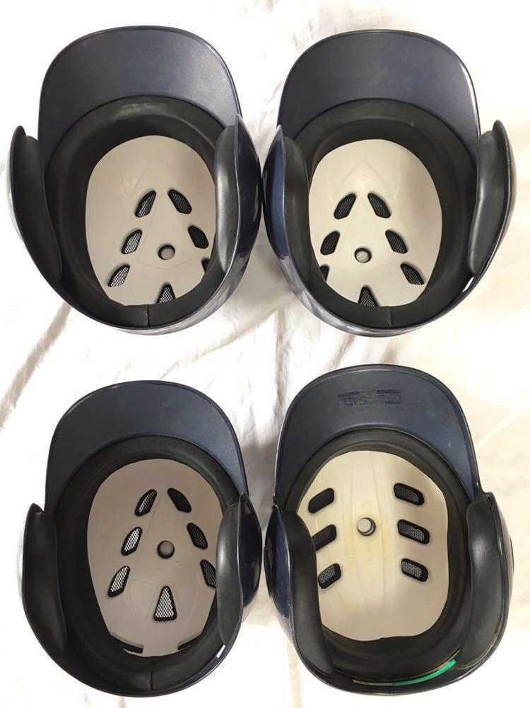 【4個セット】Rawlings ローリングス Mizuno ミズノ JSBB 軟式野球用打者ヘルメット L×1 O×2 XO×1 ネイビー 紺色 両耳 4個まとめて_画像6