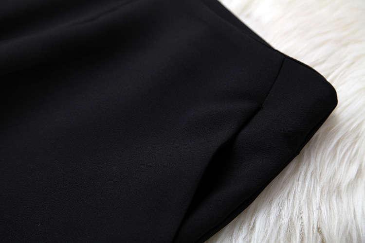 ★着痩せ2点セット★ リボン付きブラウス+着痩せズボン 夏セットアップ 長袖スーツ 気質良い ビジネス 通勤 ピンク+ブラック LYY190_画像3