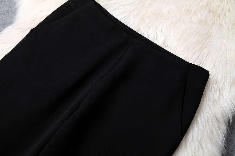 ★着痩せ2点セット★ リボン付きブラウス+着痩せズボン 夏セットアップ 長袖スーツ 気質良い ビジネス 通勤 ピンク+ブラック LYY190_画像2