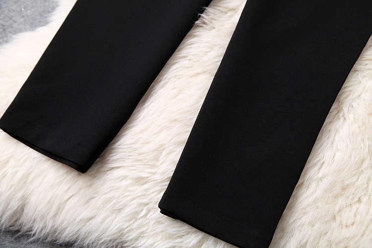 ★着痩せ2点セット★ リボン付きブラウス+着痩せズボン 夏セットアップ 長袖スーツ 気質良い ビジネス 通勤 ピンク+ブラック LYY190_画像4