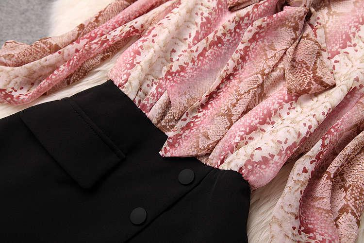 ★着痩せ2点セット★ リボン付きブラウス+着痩せズボン 夏セットアップ 長袖スーツ 気質良い ビジネス 通勤 ピンク+ブラック LYY190_画像8
