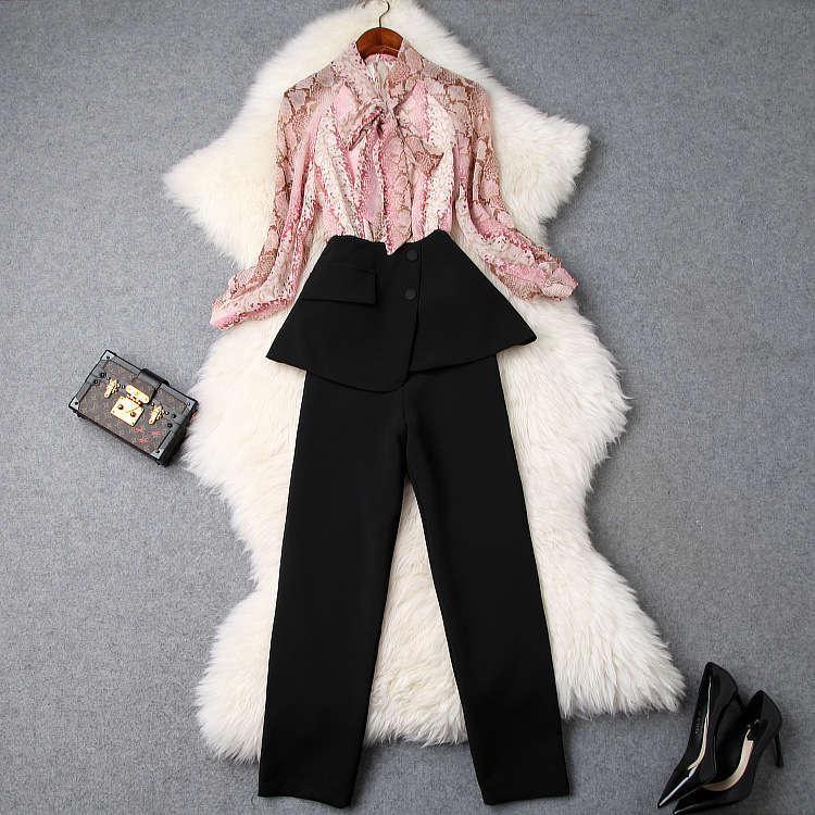 ★着痩せ2点セット★ リボン付きブラウス+着痩せズボン 夏セットアップ 長袖スーツ 気質良い ビジネス 通勤 ピンク+ブラック LYY190