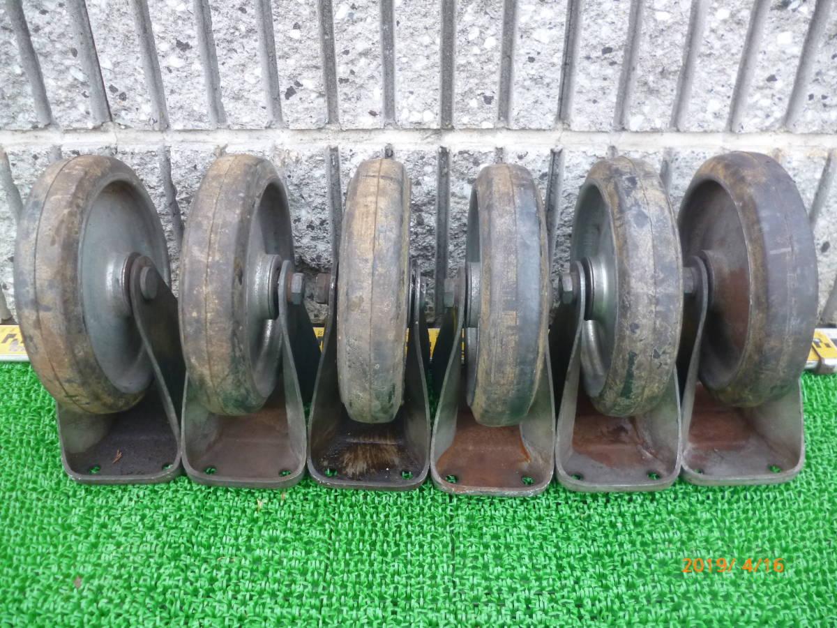 台車用 運搬車用 大型 車輪 コマ キャスター K-200 土台穴11.5cm×6.5cm位 200×45 6個_画像3