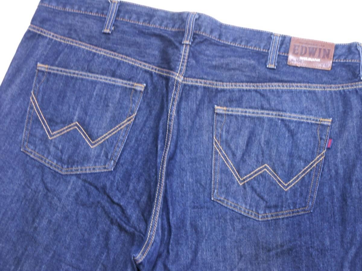 即決★極上美品★大人気 EDWINエドウイン 404 W46(116cm)濃紺 ストレートジーンズ INTERNATIONAL BASIC 日本製 ビッグサイズ メンズ_画像2