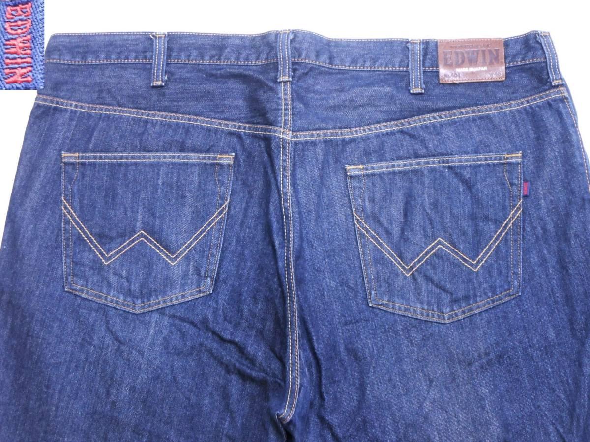 即決★極上美品★大人気 EDWINエドウイン 404 W46(116cm)濃紺 ストレートジーンズ INTERNATIONAL BASIC 日本製 ビッグサイズ メンズ_画像1
