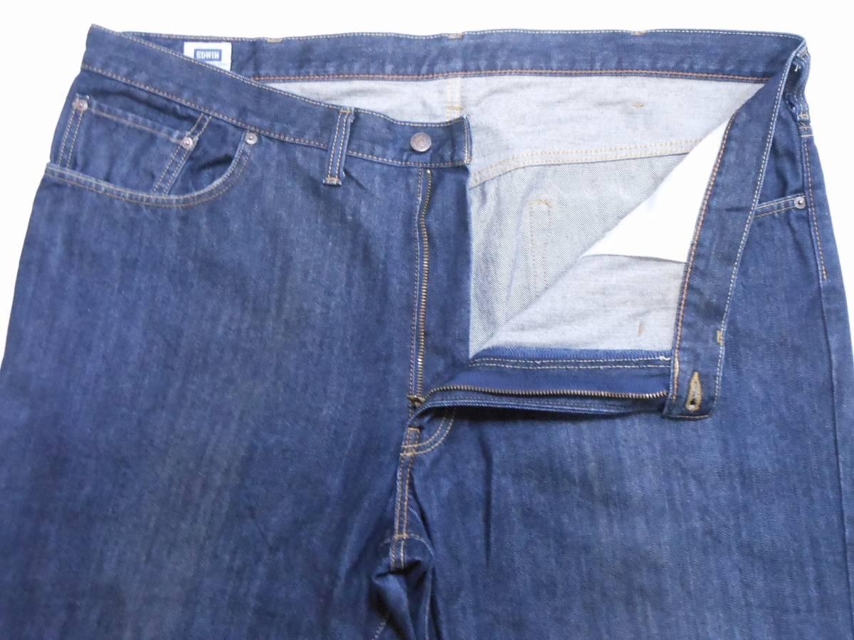 即決★極上美品★大人気 EDWINエドウイン 404 W46(116cm)濃紺 ストレートジーンズ INTERNATIONAL BASIC 日本製 ビッグサイズ メンズ_画像5