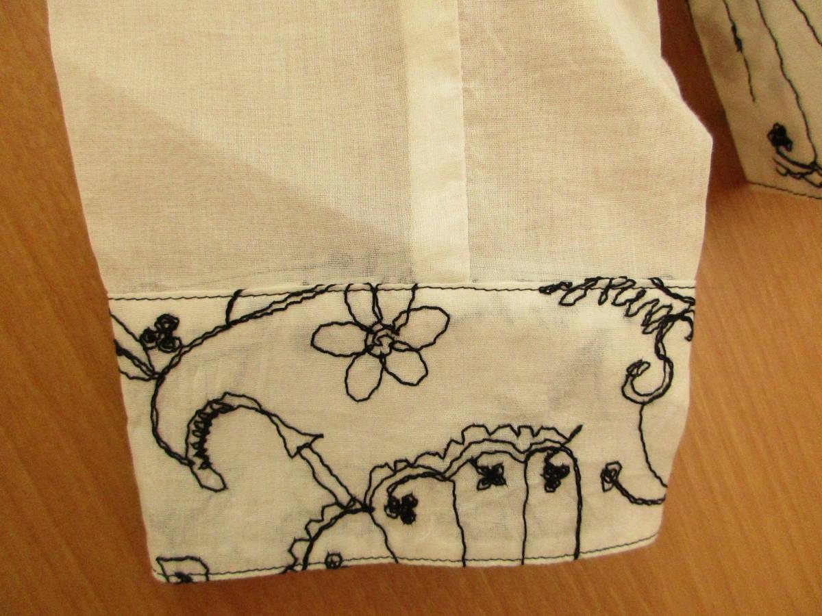 新品同様に綺麗★ジオン商事 Chamois シャミー 刺繍がお洒落です しわ加工 ブラウス ジャケット 日よけ、冷房よけ サイズ40_画像6