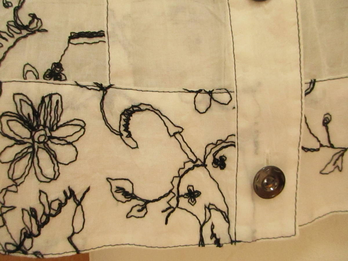 新品同様に綺麗★ジオン商事 Chamois シャミー 刺繍がお洒落です しわ加工 ブラウス ジャケット 日よけ、冷房よけ サイズ40_画像5