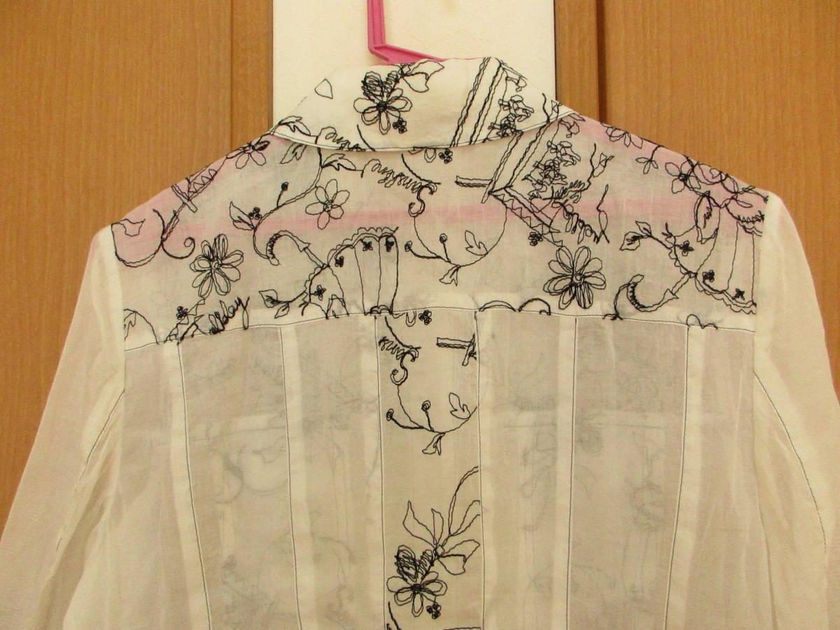 新品同様に綺麗★ジオン商事 Chamois シャミー 刺繍がお洒落です しわ加工 ブラウス ジャケット 日よけ、冷房よけ サイズ40_画像8