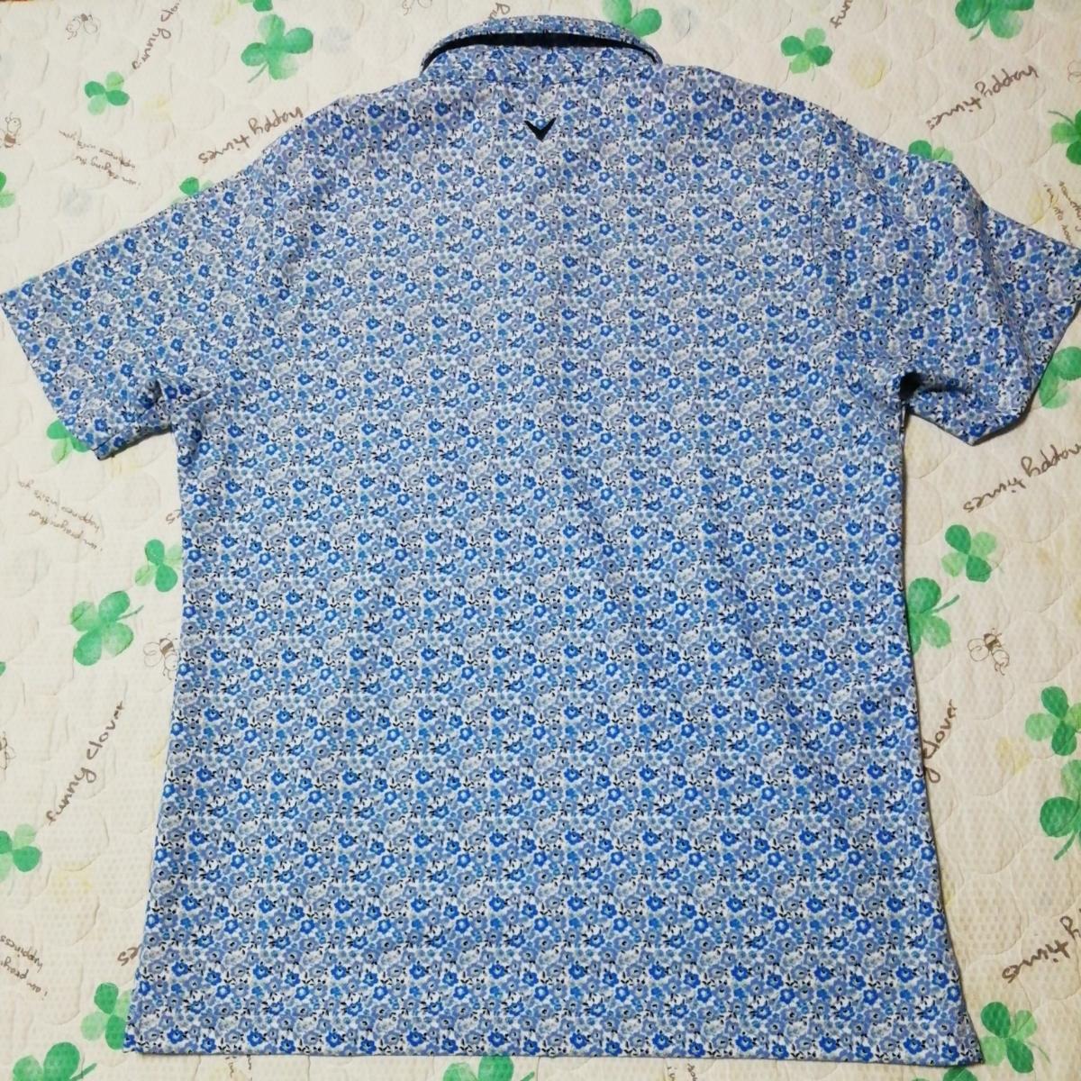 美品 キャロウェイ 小花柄半袖ポロシャツ LL_画像3