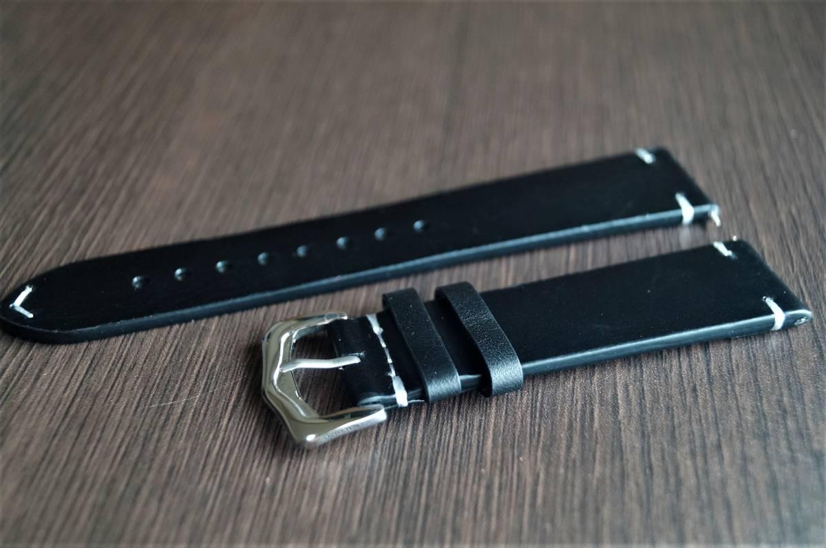 新品 時計バンド レトロカーフレザーウォッチバンドストラップ20mm ピンバックル、バネ棒付属 ブラック_画像2