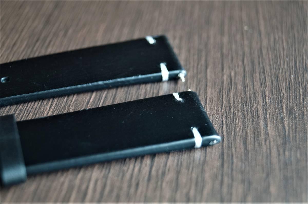 新品 時計バンド レトロカーフレザーウォッチバンドストラップ20mm ピンバックル、バネ棒付属 ブラック_画像4