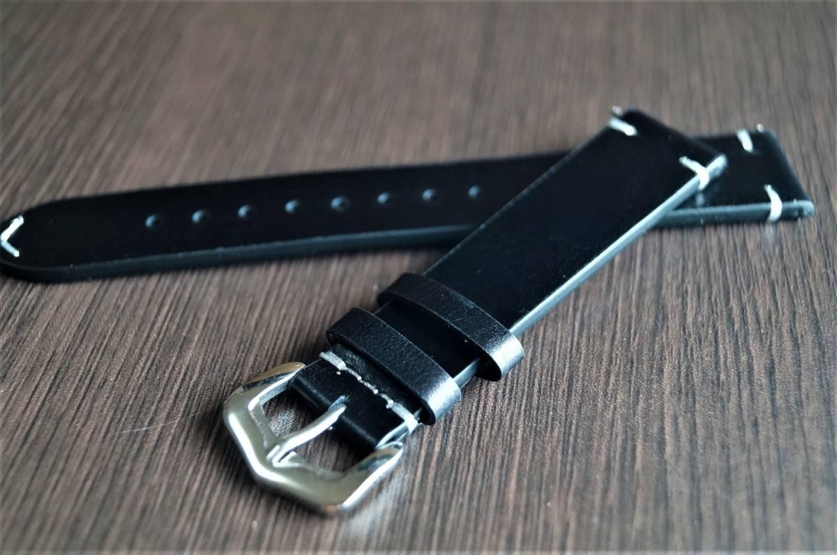 新品 時計バンド レトロカーフレザーウォッチバンドストラップ18mm ピンバックル、バネ棒付属 ブラック