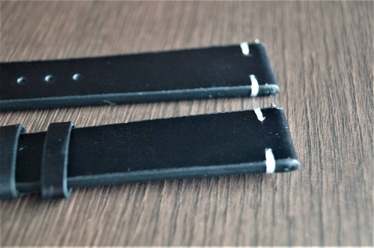 新品 時計バンド レトロカーフレザーウォッチバンドストラップ18mm ピンバックル、バネ棒付属 ブラック _画像4