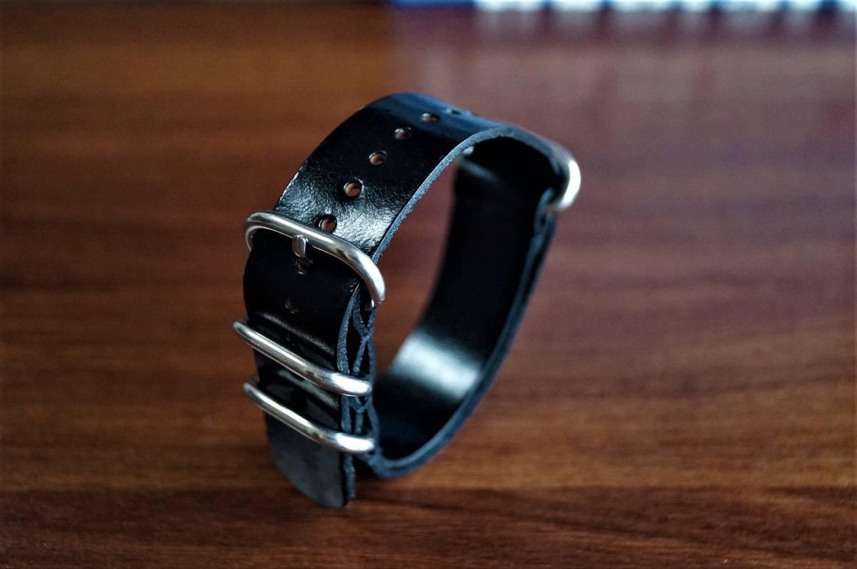 ◆新品◆海外セレクトモデルNATOストラップ腕時計本革レザーベルト20mm★取り換えバンド★ブラック★黒★1円出品