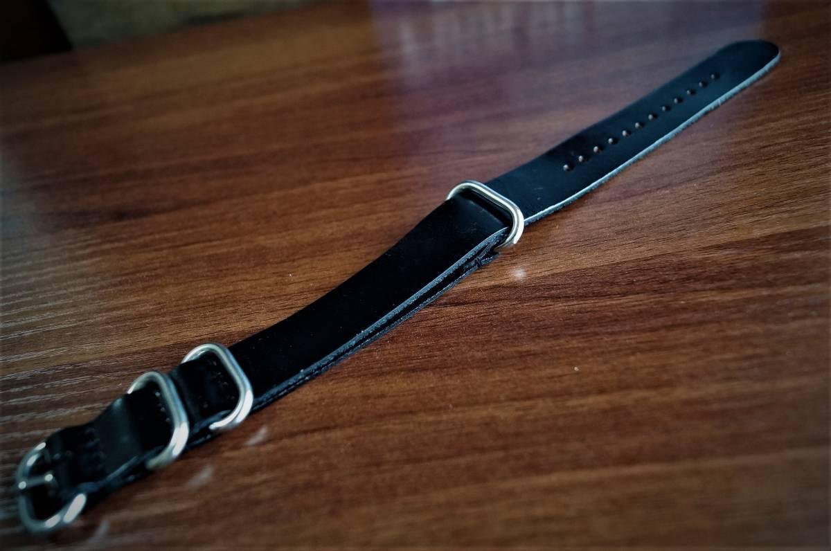 ◆新品◆海外セレクトモデルNATOストラップ腕時計本革レザーベルト20mm★取り換えバンド★ブラック★黒★1円出品_画像6