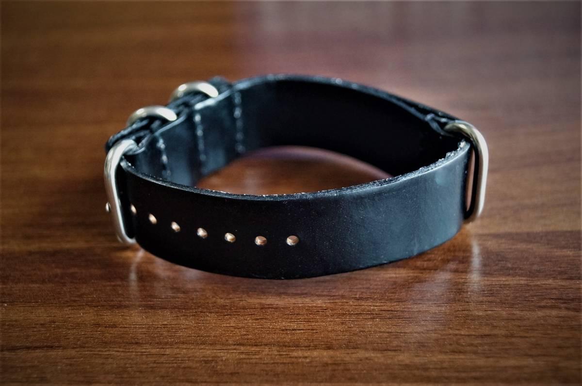 ◆新品◆海外セレクトモデルNATOストラップ腕時計本革レザーベルト22mm★取り換えバンド★ブラック★黒★1円出品_画像3