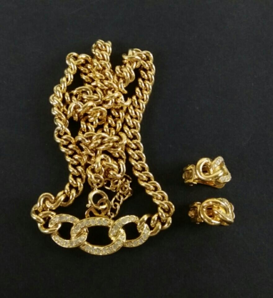 【H952】美品 Christian Dior クリスチャンディオール ネックレス イヤリングセット