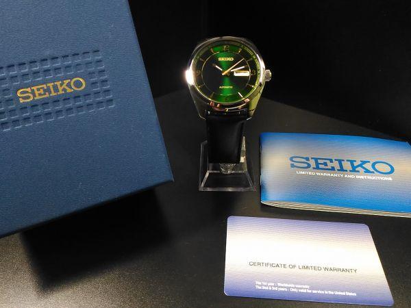 【1円エメラルドグリーン 自動巻き】SEIKO セイコー 裏スケ 腕時計 メンズ 逆輸入モデル 新品 レザー21 jewels ウォッチ 新品 未発売_画像8