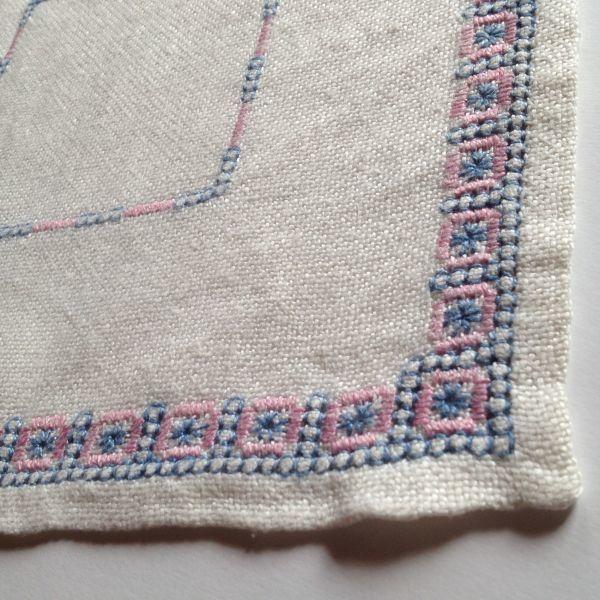 【北欧雑貨スウェーデン】ヴィンテージ◆もういちど使って欲しい◆刺繍クロス【7】麻のクロス・レトロな水色とピンクの刺繍モチーフ_画像9